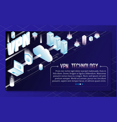 Vpn technology isometric background vector