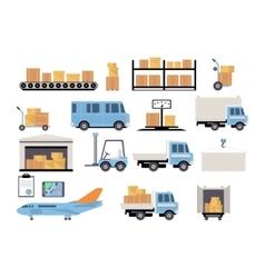 Warehouse flat set logistics packing process vector