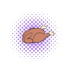 Whole roast chicken icon comics style vector