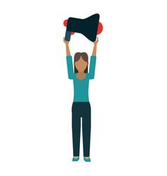woman holding bullhorn vector image
