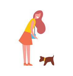Woman walking with dog pet vector