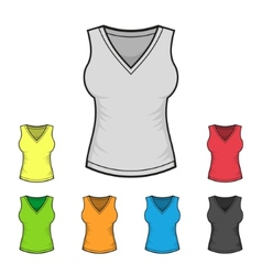 womens v-neck shirt design template color set vector image