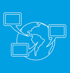 World planet and speech bubbles icon outline vector