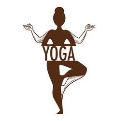 Yoga titled graphic sketch art with outline vector