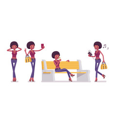 Young black woman with gadgets sitting on a white vector