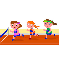 young girl runner competition vector image