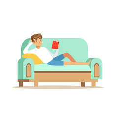 young man lying on a light blue sofa and reading a vector image