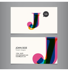 Business card template letter J vector image