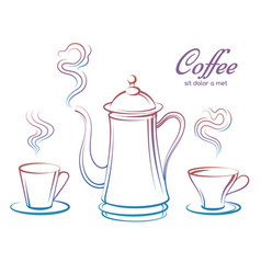 colorful coffee pot and cups vector image