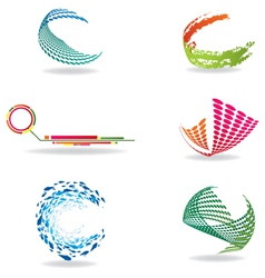 colorful halftone icons vector image vector image