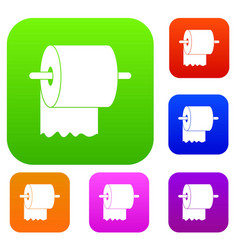 roll of toilet paper on holder set color vector image vector image