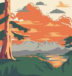 Vintage Style Landscape Background vector image vector image