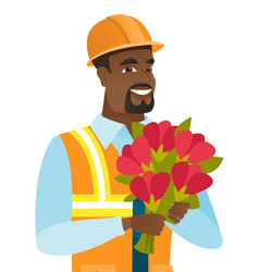 young african-american builder with bouquet vector image vector image