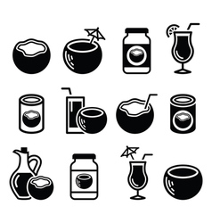 Coconut milk oil cocktail - icons set vector image vector image
