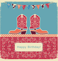 Cowboy happy birthday with shoes on sweet cake vector