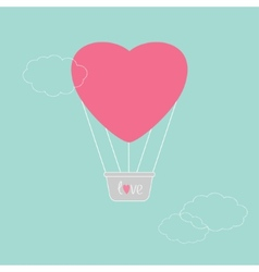Hot air balloon in shape of heart Dash line clouds vector image vector image