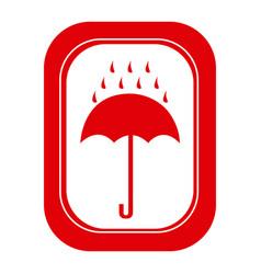 red rain with umbrella emblem icon vector image
