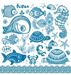 set of fish and shells vector image vector image