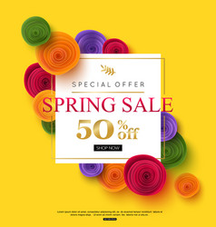 Spring sale banner template with paper rose vector