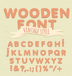 Vintage wooden alphabet Flat style vector image vector image