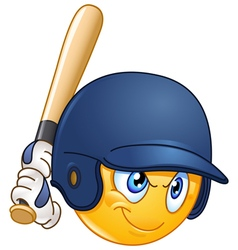 baseball batter emoticon vector image vector image