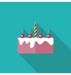 Birthday Cake Flat Icon with Long Shadow vector image