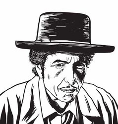 Bob Dylan Caricature Portrait Hand Drawing vector image