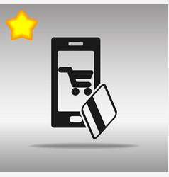 mobile banking black icon button logo symbol vector image vector image