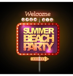Neon sign summer beach party vector image vector image