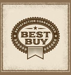 Vintage best buy label vector