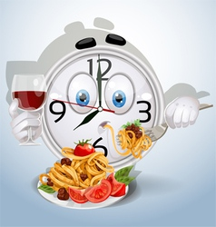 Watch smile dinner of spaghetti vector image