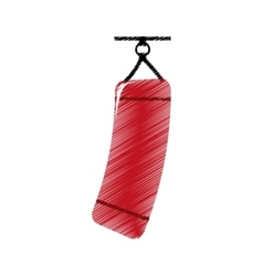 drawing colored silhouette red punching bag icon vector image