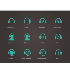 Headphones and headset icons vector image vector image