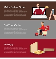 order pizza online food delivery mobile laptop vector image