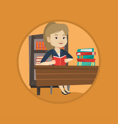 student reading book vector image vector image