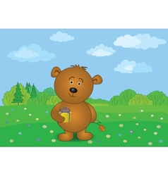 Teddy bear with flower and gift on meadow vector image