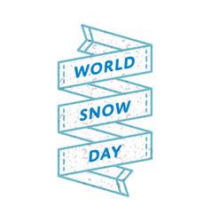 world snow day greeting emblem vector image vector image