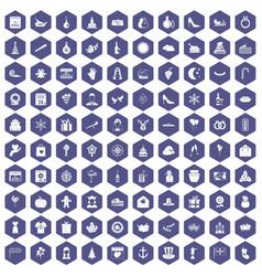 100 festive day icons hexagon purple vector