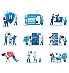 2d concepts communication patients and doctors vector