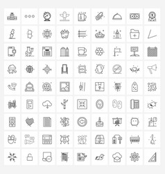 81 universal line icons for web and mobile cup vector