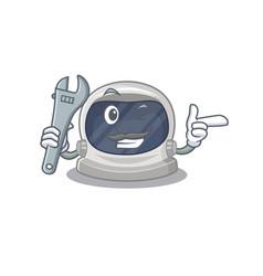 A picture astronaut helmet mechanic mascot design vector