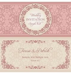 Baroque wedding invitation pink and beige vector image