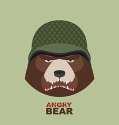 Bear soldierHead of angry bear in military helmet vector