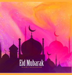 Beautiful eid mubarak festival greeting vector