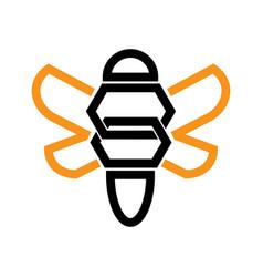 Bee logo design in geometric style vector