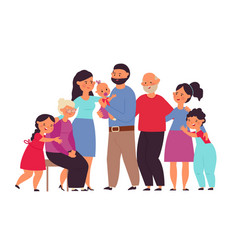 big family together cute people mom grandpa vector image