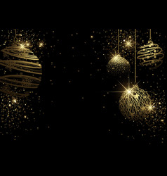black christmas background with golden bauble vector image