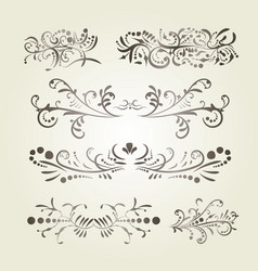 Brown gradient calligraphic swirl elements vector