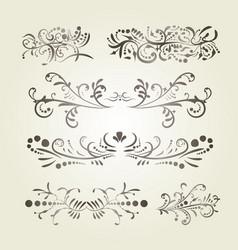 brown gradient calligraphic swirl elements vector image