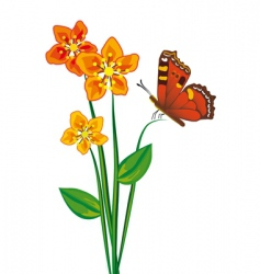 butterfly and three red flower vector image